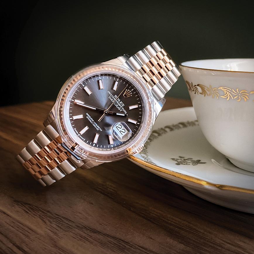 Montre femme de luxe Rolex Lady Datejust or rose acier bracelet jubilé d'occasion bastia paris