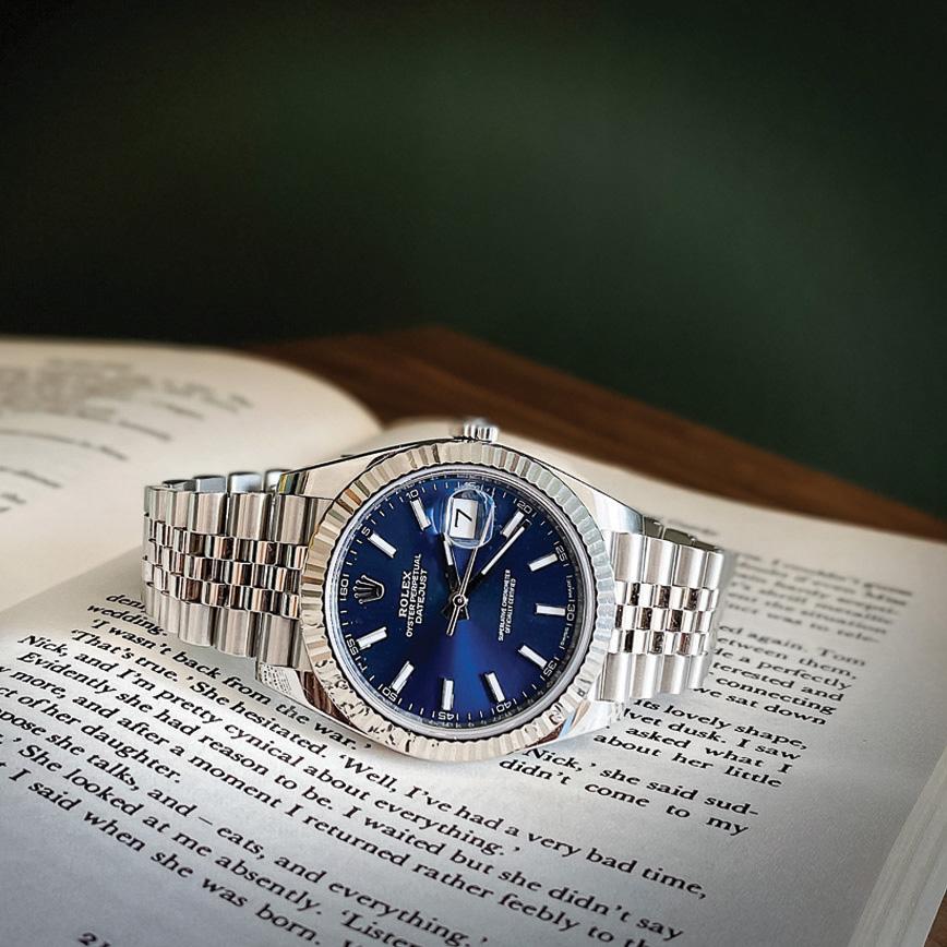 Montre homme de luxe rolex datejust 2 bracelet jubilé cadran bleu d'occasion bastia paris