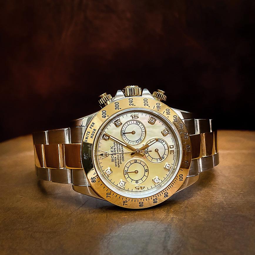 Montre homme de luxe Rolex Daytona or et acier cadran nacré jaune et diamants - Corse, Paris