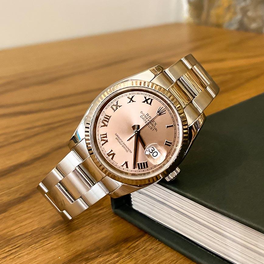 Montre femme Rolex Datejust 36mm cadran saumon avec chiffres romains ref.116234 - Corse, Paris