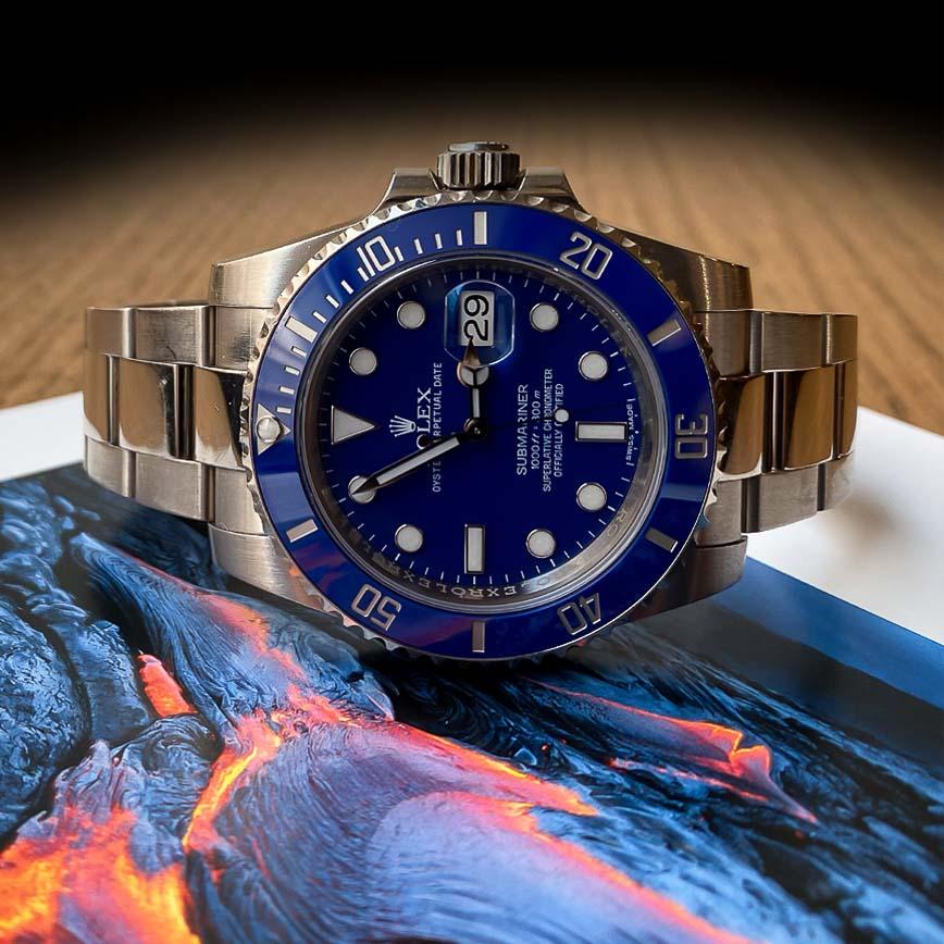 Montre homme Rolex Submariner or blanc cadran bleu ref.116619LB - Corse, Paris