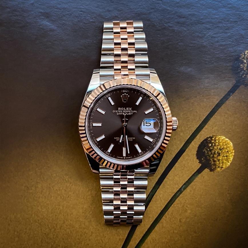 Montre homme Rolex Datejust 2 cadran marron 41mm bracelet jubilé acier et or rose - Corse, Paris