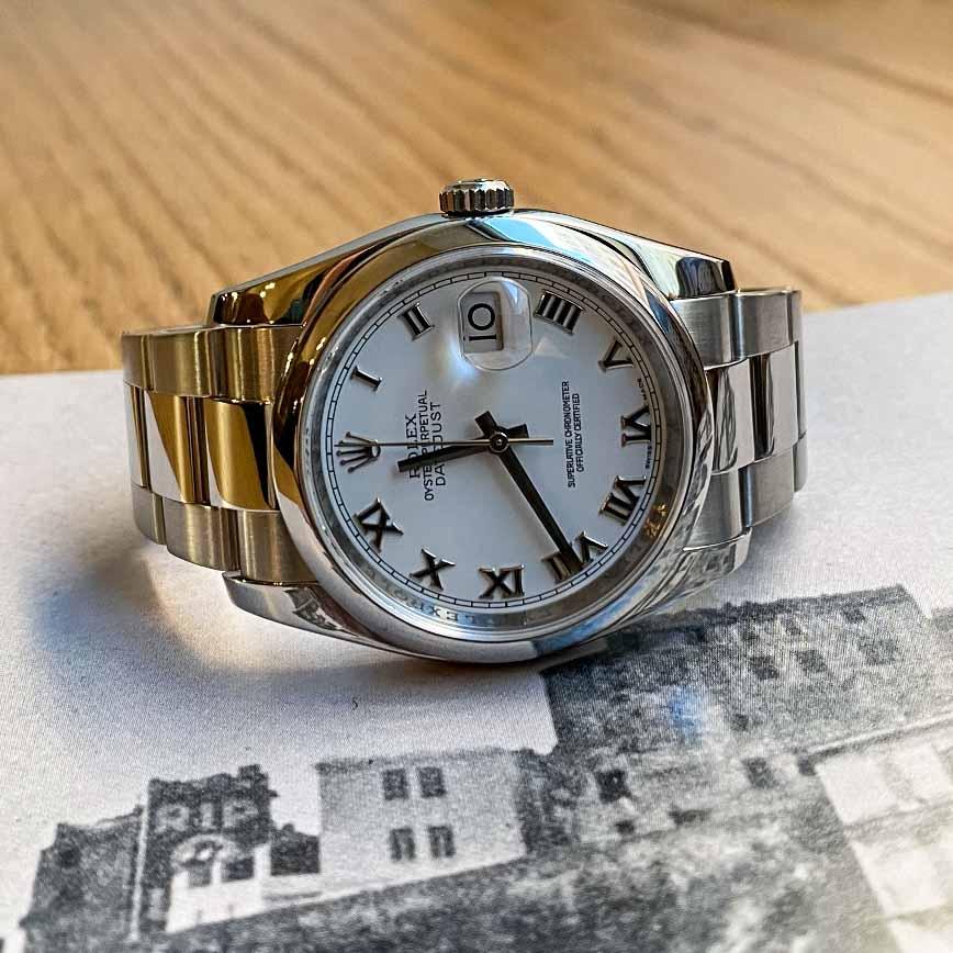 Montre homme Rolex Datejust cadran blanc 36mm avec chiffres romains ref.116200 - Corse, Paris