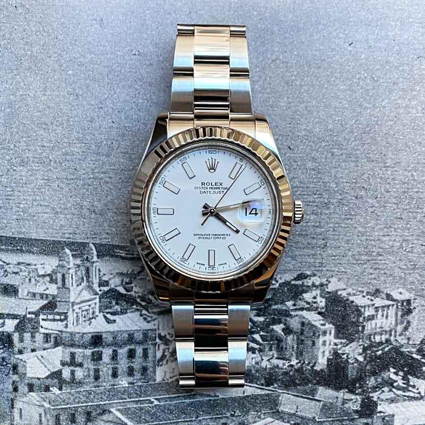 Montre homme Rolex Datejust cadran blanc 41mm et bracelet oyster ref.116334 - Corse, Paris