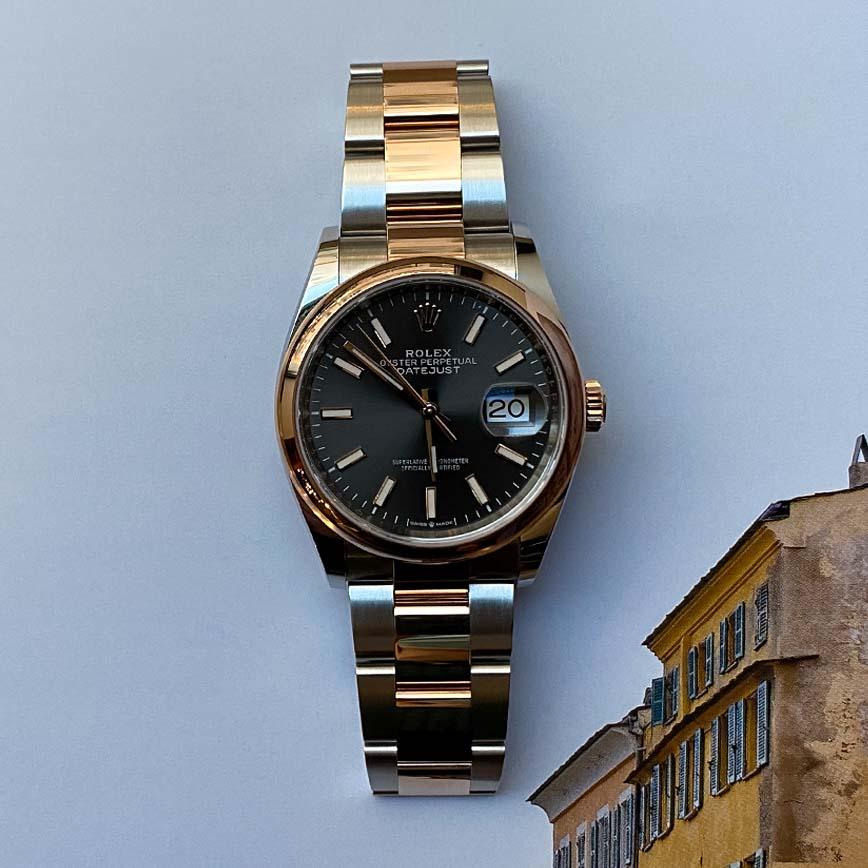 Montre Rolex Datejust 36mm cadran ardoise acier/or rose ref.126201 - Corse, Paris
