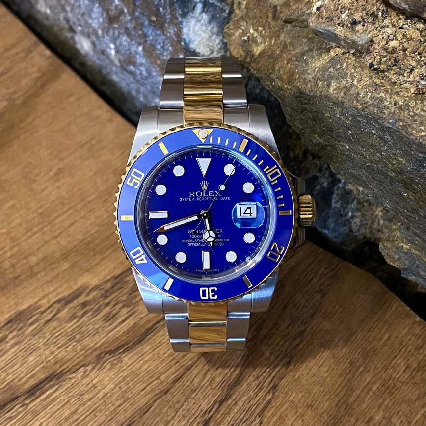 Montre homme Rolex Submariner cadran bleu ref.116613LB acier et or jaune - Corse, Paris