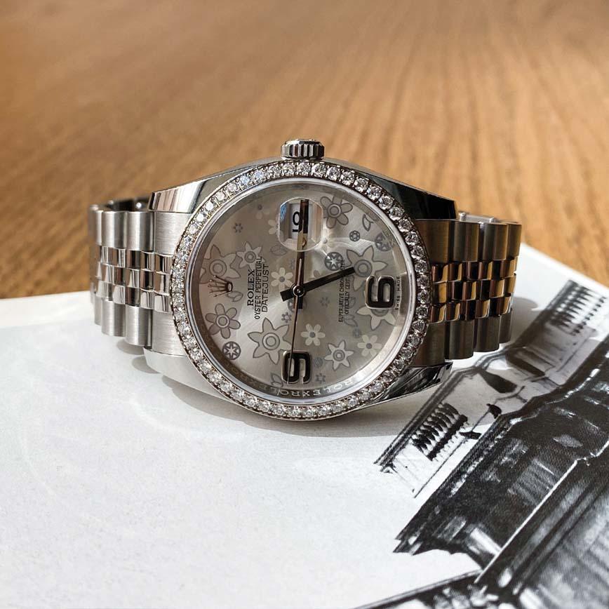 Montre femme Rolex Lady Datejust cadran floral et lunette sertie diamants ref.116244 - Corse, Paris