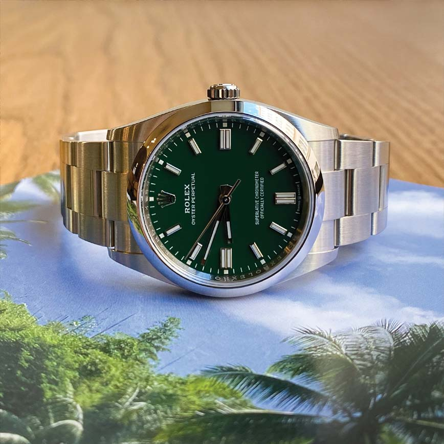 Montre homme Rolex Oyster Perpetual 36mm cadran vert ref.126000 - Corse, Paris