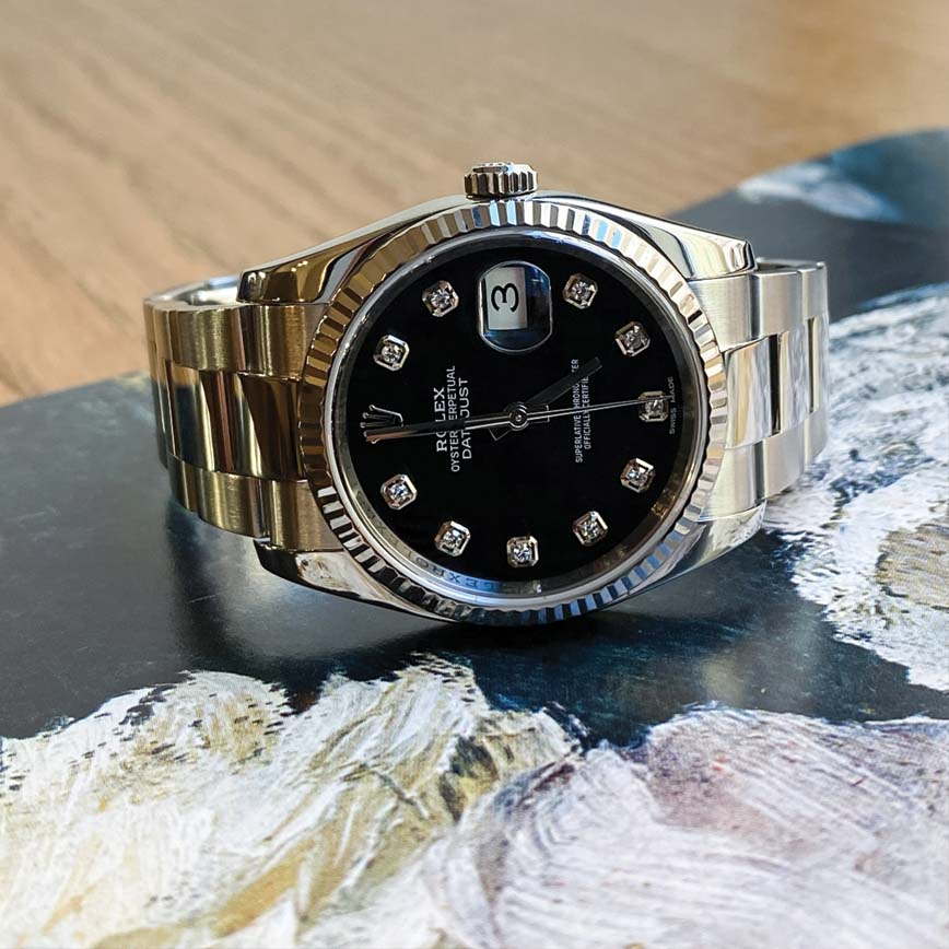 Montre Rolex Datejust cadran noir index diamants ref.116234 - Corse, Paris