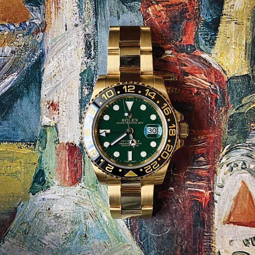 Rolex GMT Master 2 or jaune et cadran vert ref.116718LN - Bastia, Paris