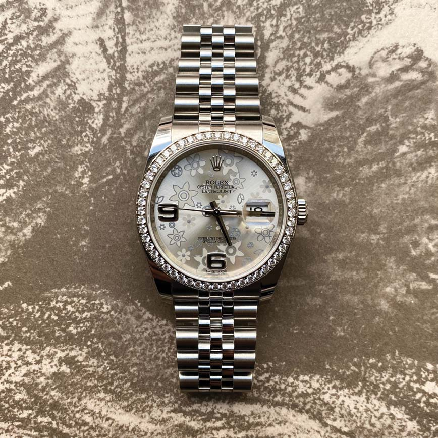Rolex Lady Datejust cadran floral et lunette sertie diamants ref.116244 - Bastia, Paris