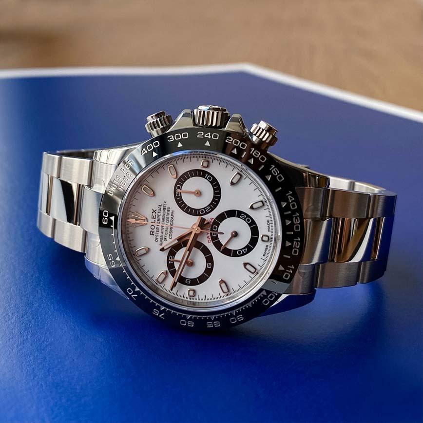 Montre homme Rolex Daytona cadran blanc et lunette noire ref.116500LN - Corse, Paris